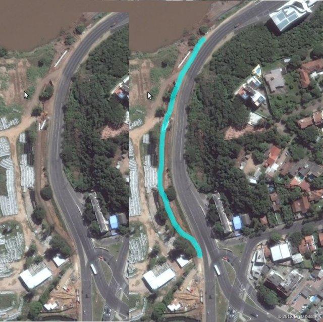 Proposta inicial (à direita, em azul), de reconstituir o caminho natural que já existia anteriormente (à esquerda), e que foi aterrado (imagens: Bing Maps).