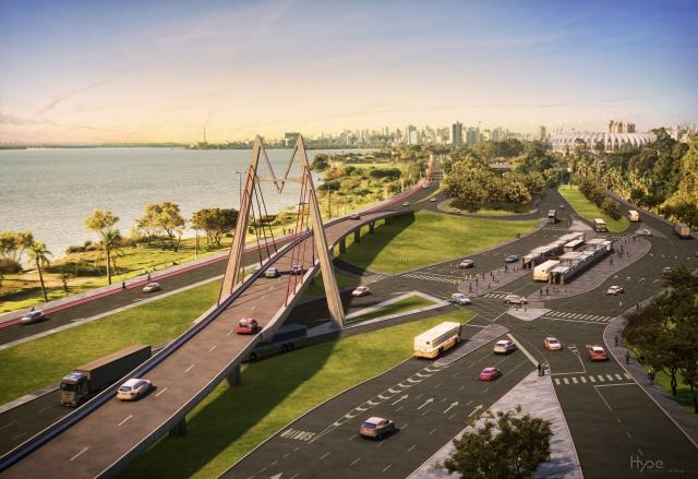 Construção do Viaduto Pinheiro Borda, em plena orla do Guaíba.