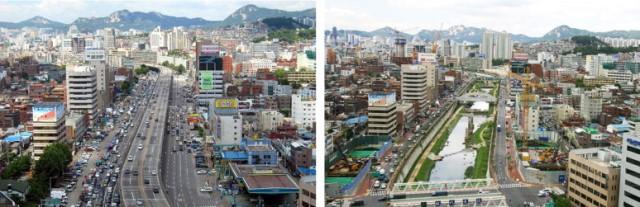 Seul removeu uma via expressa para revitalizar o rio e criar um parque. Investiou em corredores exclusivos para ônibus e o trânsito melhorou.