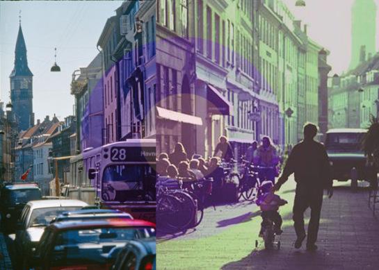 Kompagnistræde em Copenhague, Dinamarca, antes e depois.