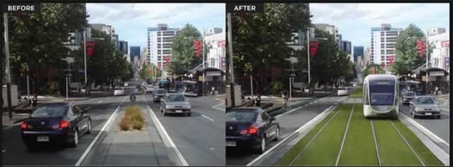 Auckland, na Nova Zelândia, removendo espaço do automóvel particular e criando VLT sobre um gramado.