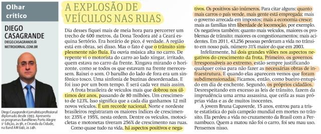 Coluna de Diego Casagrande no jornal MetroPoa de 04 de dezembro de 2013