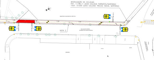 Prancha de projeto para Rua Augusto Severo.
