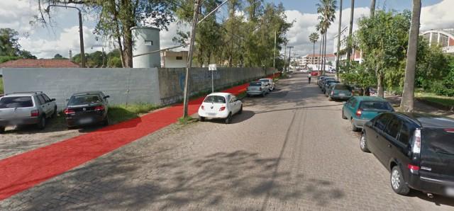 Rua Augusto Severo com ciclovia projetada pela EPTC.