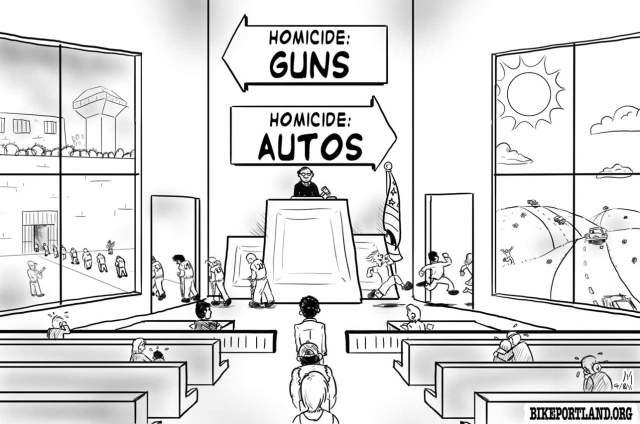Tradução livre: Homicídios com arma de fogo para a esquerda, com carros para a direita.
